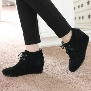 TOMS | Black Suede Dessert Wedge Booties
